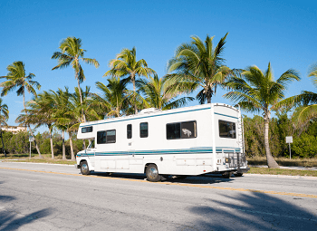 RV driving down a street lined with palm trees