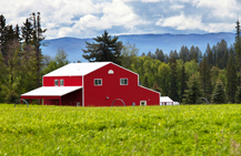 red barn surrounded by trees and mountains